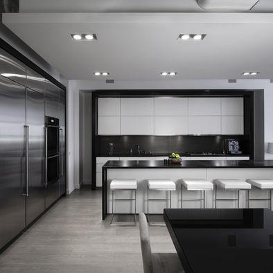 Modern White Kitchen  - white + black + grey