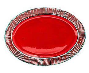 Piatto da portata in stoneware Frida rosso - 41x5x29 cm