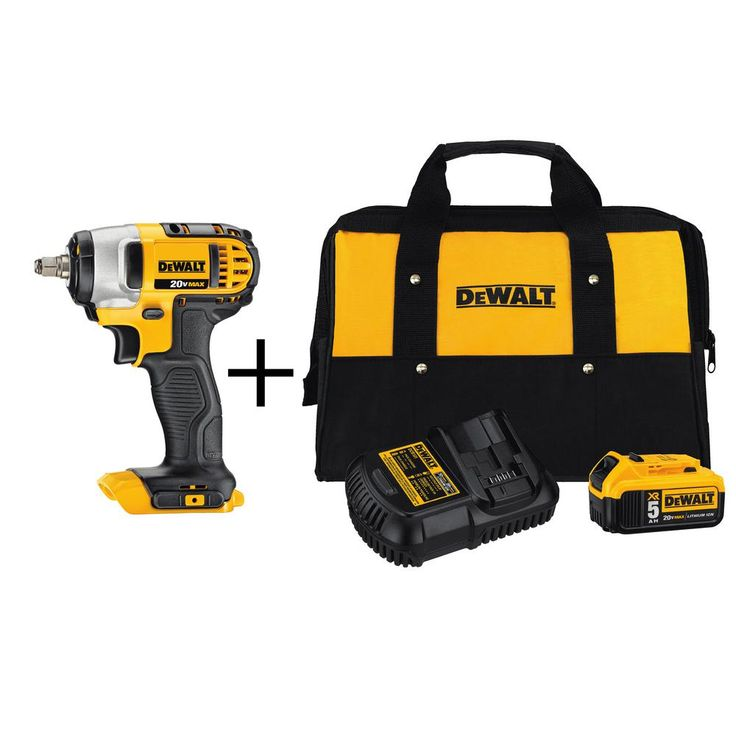 DEWALT 20-Volt Max Lithium Ion 3/8 in. Cordless Impact Wrench with Hog Ring with Bonus 5.0 Ah XR Battery Starter Kit