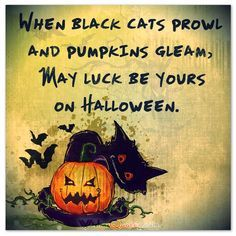 When black cats prowl and pumpkins gleam, May luck be yours on Halloween.