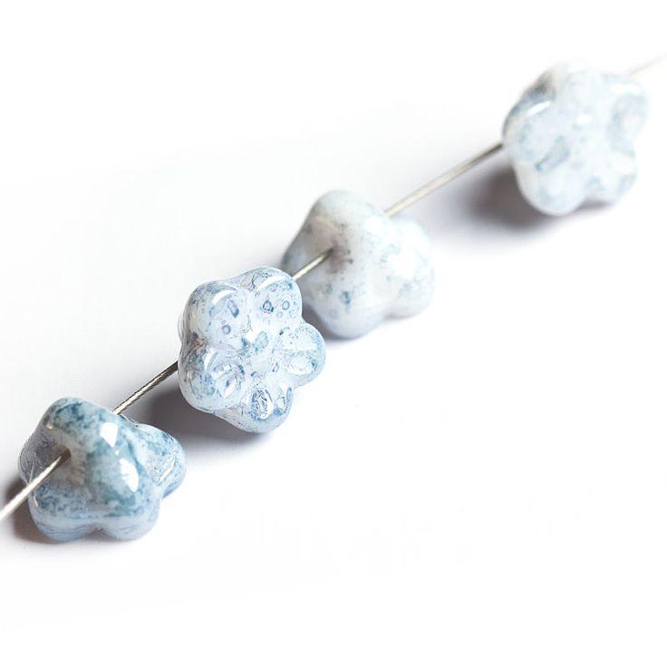 Jewery supplies -Baby Bell Flowers Czech Glass Beads - Picasso Gray 5х8 mm -White Giraffe