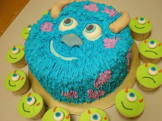 Sully and Mike cake and cupcakes