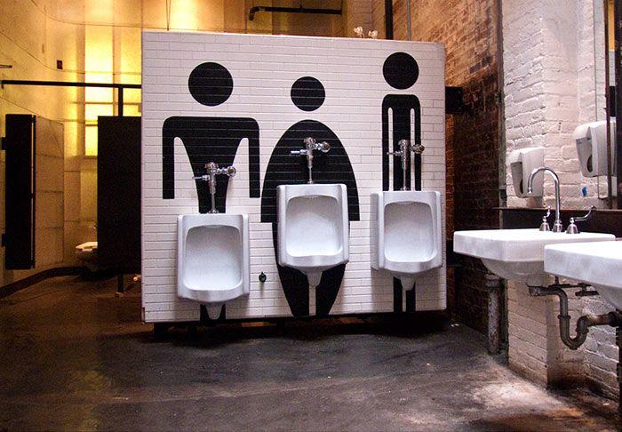 Public Art Installation Boston Center for the Arts Boston MA restroom sign toilet sign  REF