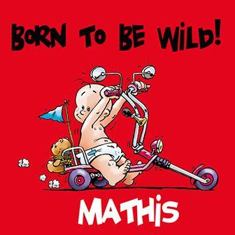 Een stoer geboortekaartje met een baby op een motor. Born to be wild!