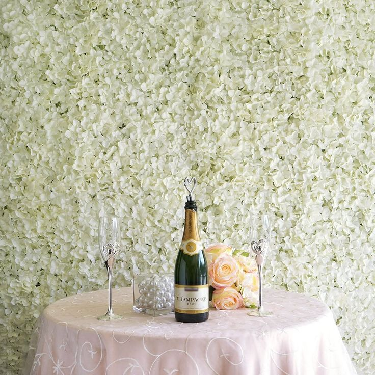 4 PCS Cream Silk Hydrangea Flower Mat Wall Backdrop Photography Panel Photo Booth Wedding Event Decor | efavormart