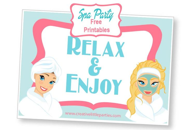 Free spa party placemat  #freeprintable #spaparty #spa #party #free #printable #printables