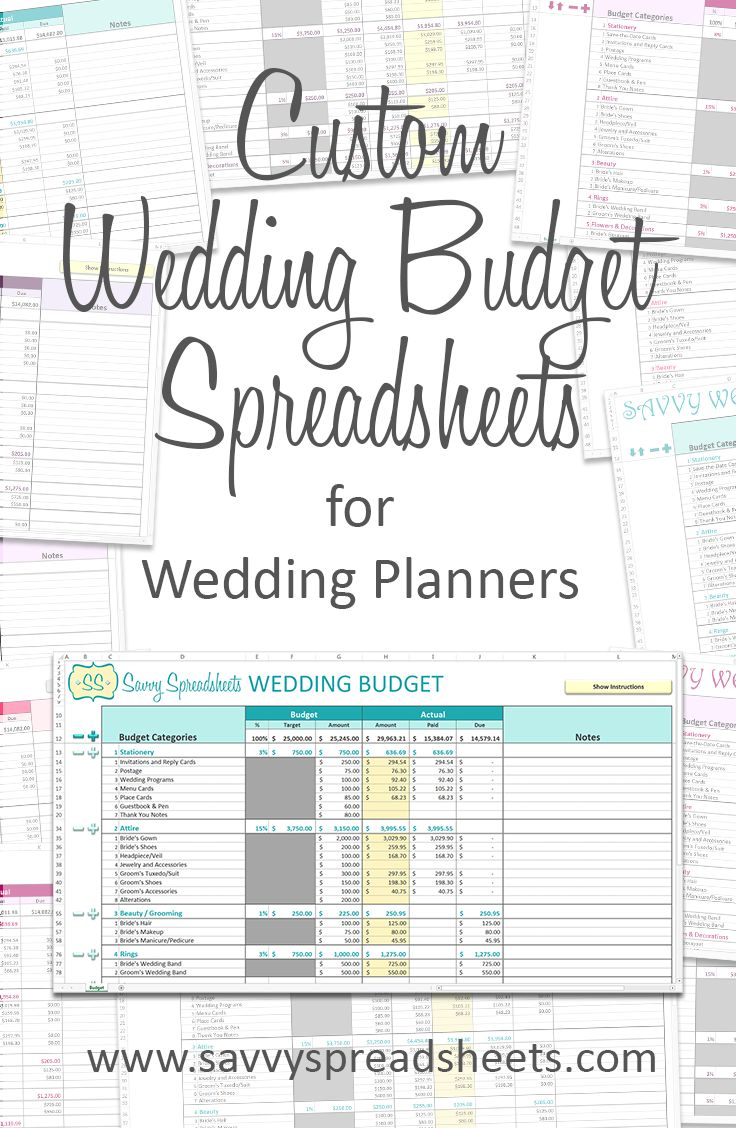 The perfect marketing tool for your wedding planning business! Get your logo and your colors on our essential wedding budget spreadsheets. Our user-friendly budget templates have fully customizable categories and subcategories, and can be used with Excel or Google Sheets.