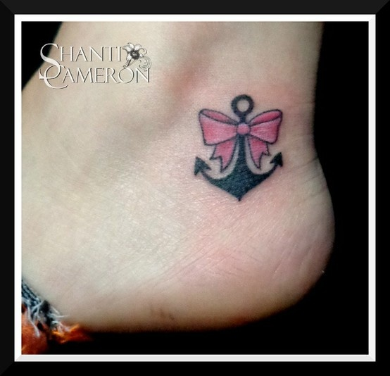 This itty bity #anchor was tattooed by Shanti. #girltattoo #pinkribbon #anchortattoo #tattoo #tattoos #bow