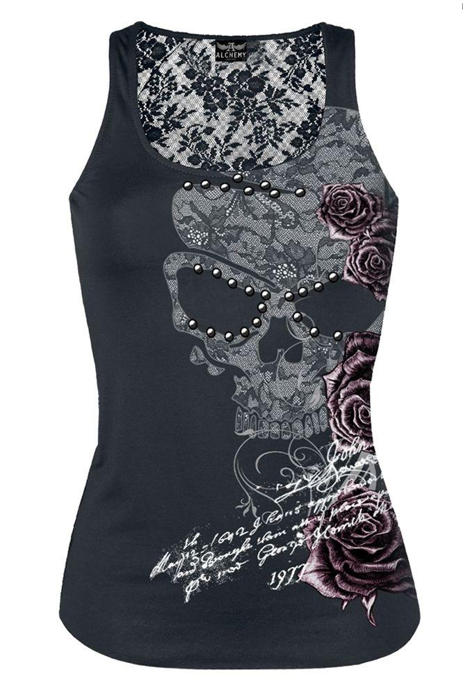 Alchemy Gothic Moon Rose Ladies Gothic Vest Top [bw-2530v2] - £19.99 :