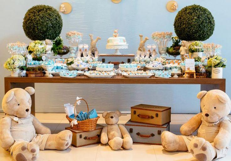 Chá de bebê: decoração de ursinhos para menino! #festinha