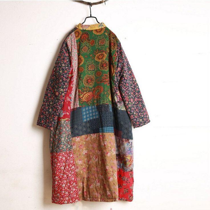 Escudo - Estilo retro del invierno de las mujeres de la rebeca del algodón de lino Abrigo