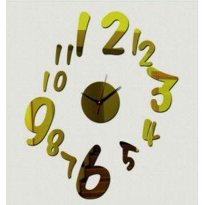 Design nástenné hodiny čísla , farba zlatá .
