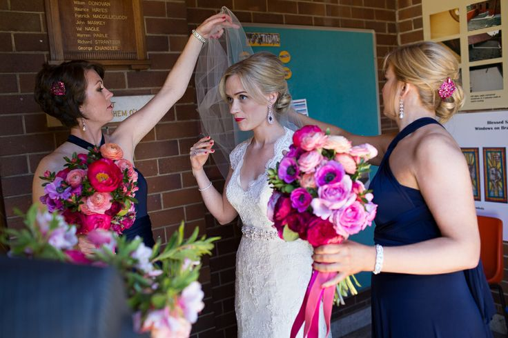 10 things I learned from planning our wedding Wedding, Jen Bishop, bride, church wedding, Blessed Sacrament, Mosman, bridesmaids, navy, infinity dresses, converitable dresses, flowers, Maggie Sottero, Maggie Sottero Carolina dress, veil, navy and hot pink