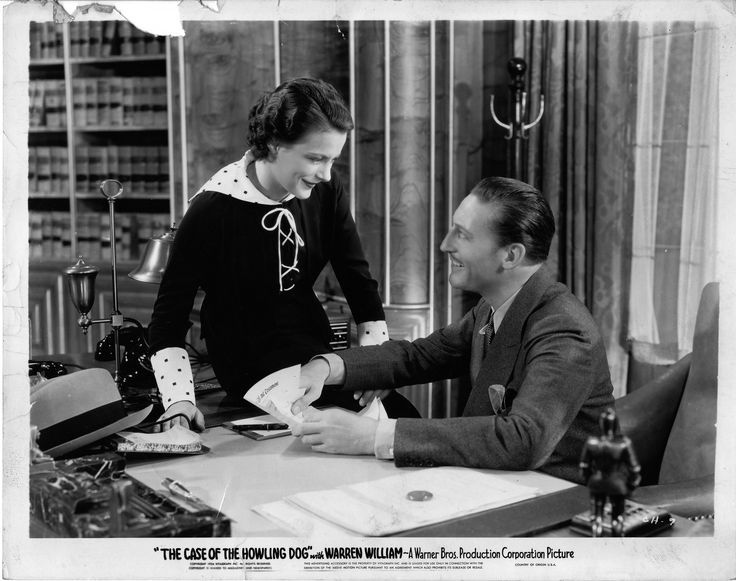 Helen Trenholme as Della Street, Warren William as Perry Mason in The Case of the Howling Dog (1934).  From the Jim Davidson Collection.