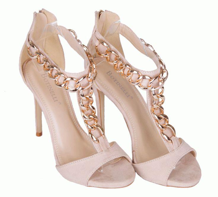 Sandale Dama Delicate Beige  -Sandale dama  -Toc 11cm  -Detaliu auriu  -Se inchid cu fermoar la spate