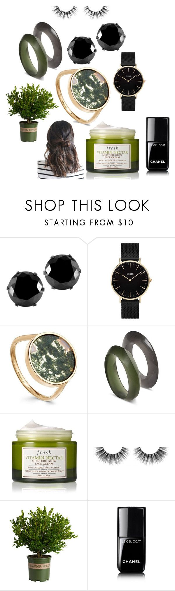 """""""Greens and Blacks"""" by castlepeaklife on Polyvore featuring West Coast Jewelry, CLUSE, Fresh, Velour Lashes and Chanel"""
