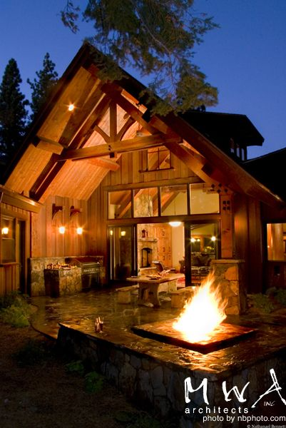 Tahoe Lodge Outdoor Kitchen Fire Pit Covered Outdoor Space Heavy Timber Truss Opening Glass