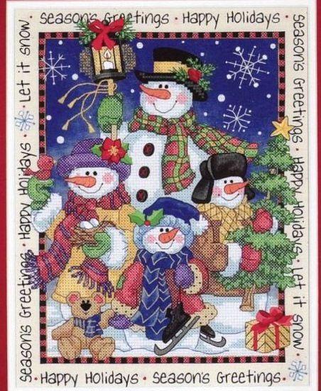 Cross-stitch Snowman Greetings, part 1..