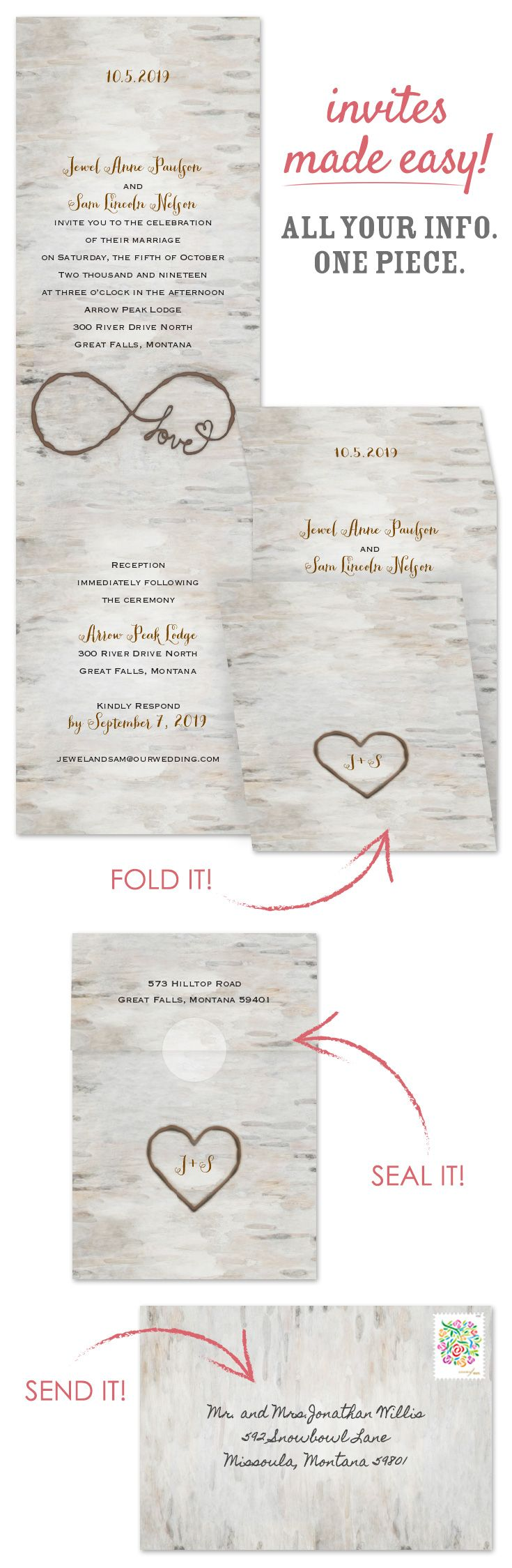 A birch background in charming watercolor creates these rustic woodland wedding invitations perfect for your nature-inspired wedding. The monogram heart on the outside front of these folding invitations and the infinity symbol inside appears as if burned into the birch background @annsbargains
