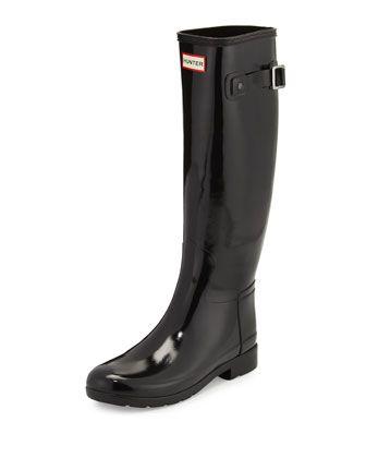 Original+Refined+Gloss+Rain+Boot,+Black+by+Hunter+Boot+at+Neiman+Marcus.