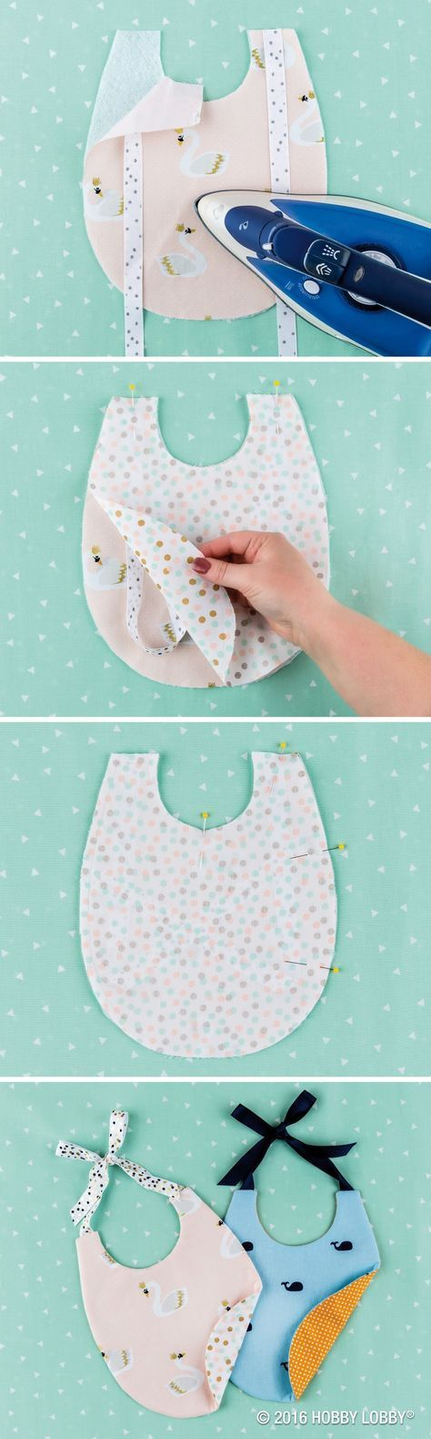 "Keep your little one in style with DIY bibs! 1) Cut 2 pieces of coordinating fabric & 1 piece of fusible fleece. 2) Sew 15"" of ribbon on each shoulder, & iron on fusible fleece to main fabric's wrong side, & align the main & second fabrics' right sides. 4) Sew 1/4"" from edge all the way around bib, leaving a 1 1/2"" opening. 4) Trim corners & make small cuts around bib. Do not clip the sew line. 5) Turn bib inside out, press & hand sew the open space to finish"
