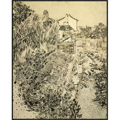 """Global Gallery 'The Flower Garden' by Vincent Van Gogh Framed Painting Print Size: 40"""" H x 32.05"""" W x 1.5"""" D"""