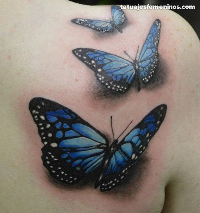 Lovely Blue And Black 3D Butterflies Tattoo On Back