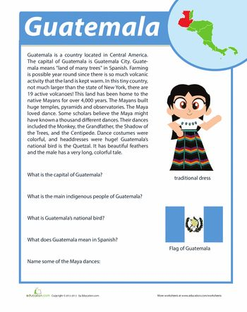 Worksheets: Guatemala Facts