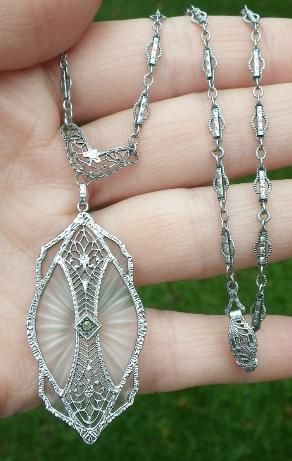 Art Deco rhodium filigree and camphor glass necklace....I think I'd wear this all of the time