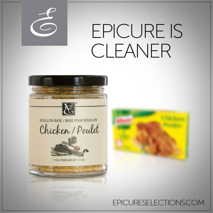Build extra flavour into your meals – without any yucky additives. Epicure's Chicken Bouillon is much lower in sodium, contains natural chicken flavour and no hydrogenated oils. Store-bought brands, on the other hand have modified palm oil, MSG, hydrolyzed corn protein, and disodium inosinate. #glutenfree
