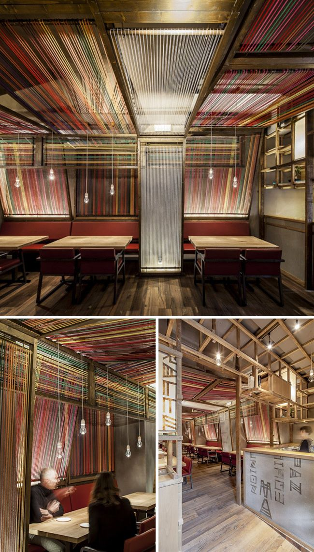 Pakta restaurant in Barcelona (installation of giant looms of threaded yarn, design by El Equipo Creativo)