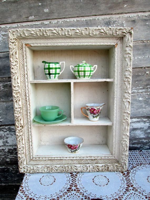 Antique Shabby White Gesso Framed Shadow Box Tea Cup