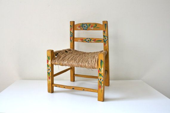 This small chair is very cute! The chair is ideal for light use or used as a dolls chair. Chair has a slight tilt and wobble. Handmade in Mexico.
