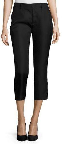 Co Flat-Front Cropped Cigarette Pants, Black