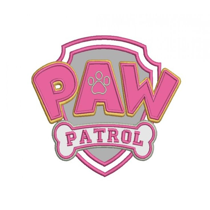 logo paw patrol applique  paw patrol machine embroidery