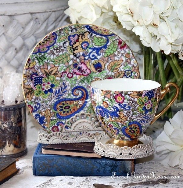 Rare Shelley Blue Paisley Chintz Pattern 14038 #Teacup & saucer