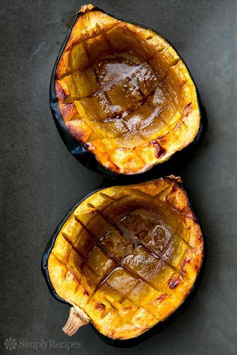 Classic Baked Acorn Squash ~ Easy baked acorn squash recipe, perfect for the fall. Squash is cut in half, insides scooped out, then baked with a little butter, brown sugar, and maple syrup. ~ http://SimplyRecipes.com