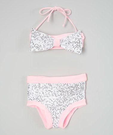 Another great find on #zulily! Pink & Silver Sequin Hi-Waist Bandeau Bikini - Toddler & Girls #zulilyfinds