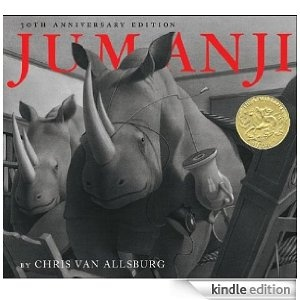 Jumanji- Caldecott Winner A loved classic where the story of Judy and Peter's home becomes appallingly reorganized as they play the game of Jumanji. As they roll the dice, the events in the game come to life. With beautiful black and white pencil drawings, the illustrations of wild monkeys and rhinos appear as if they are coming to life. Elements of the art and written dialogue included in this story make it a great mentor text for students to analyze. Zathura is the sequel to Jumanji.