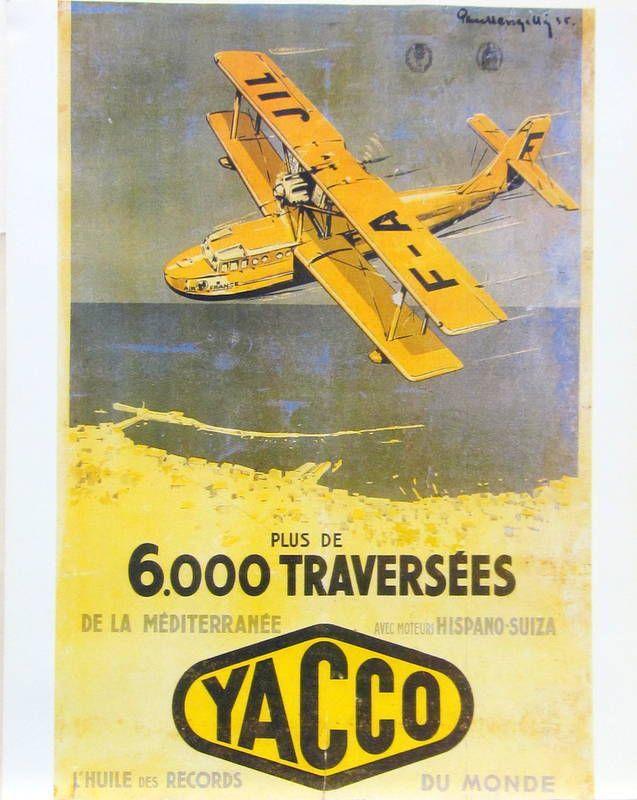 1935 - CAM 58, HYDRAVION D'AIR FRANCE SURVOLANT LA BAIE D'ALGER. AFFICHE PUBLICITAIRE YACCO, l'huile des records du monde. Les hydravions amerrissaient dans le port et étaient basés à l'Agha dans d'immenses hangars.