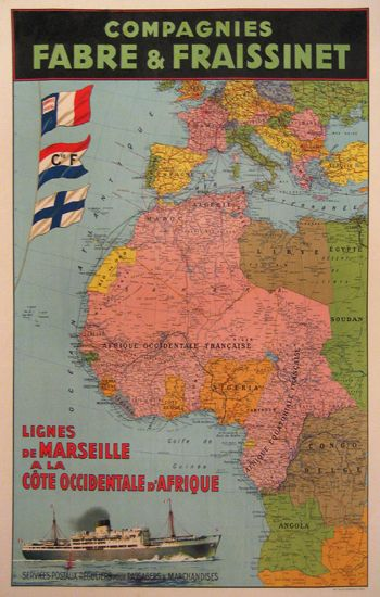 Vintage map of shipping routes from Marseille to West Coast of Africa, c. 1925: Posters Afriqu, Picture-Black Posters, Marseil Vintage Posters, Chisholm Posters, Travel Posters