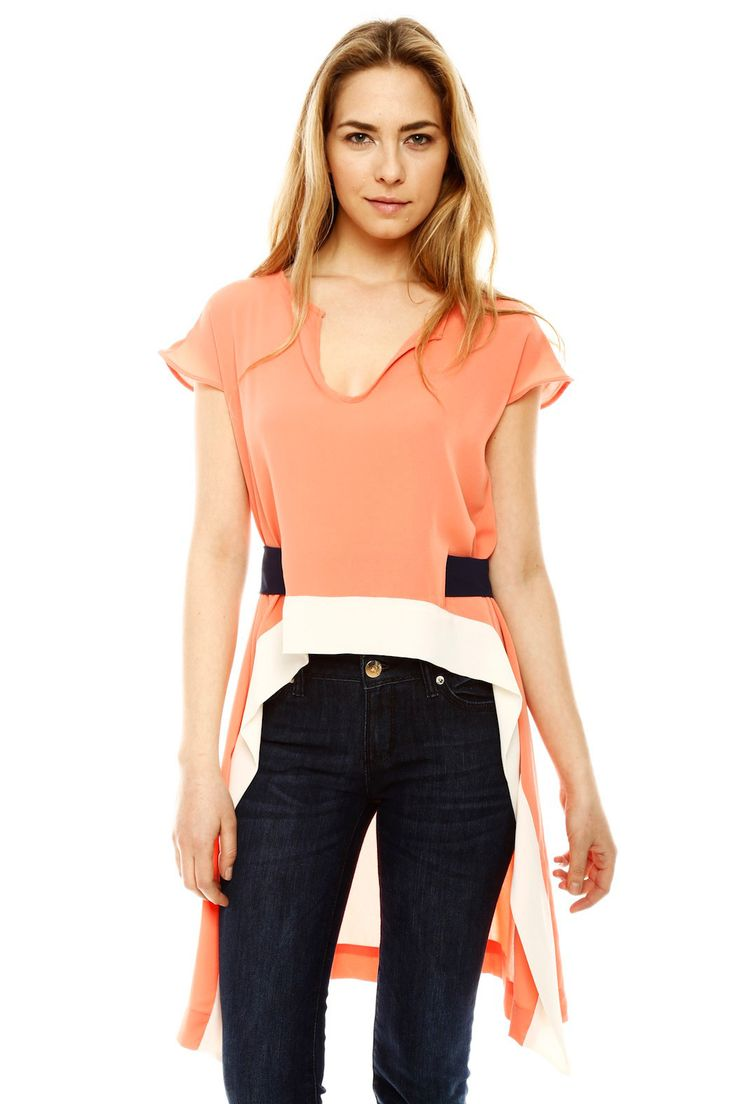 Peach with Navy & White Color Block Hi-Lo Top Blouse  #fashion #ladies #shirt #blouse #women #top #clothing