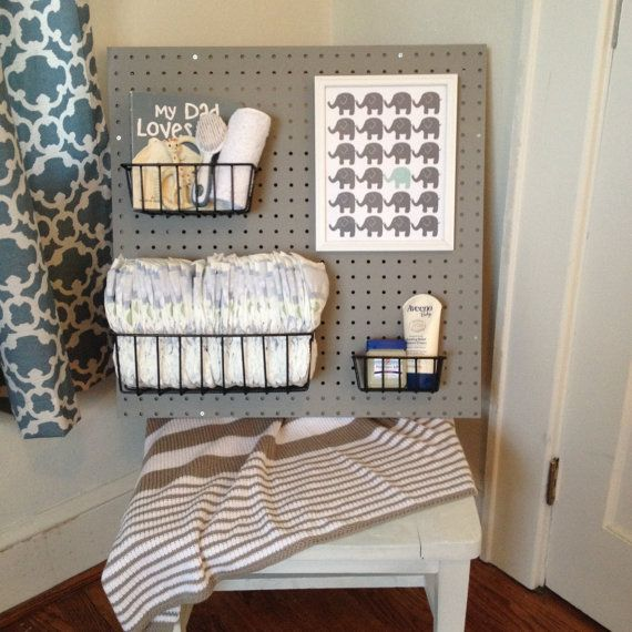 Peg Board Nursery Changing Table Organizer Grey by Peggleboards, $50.00