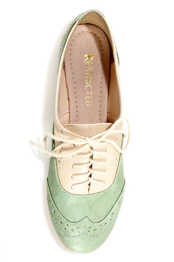 Restricted Sweet Pea Ivory and Mint Saddle Shoe Flats - $49.00