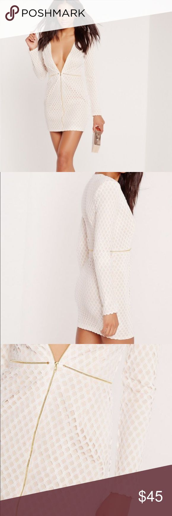 MISSGUIDED white Zip up dress Premium lattice lace zip up bodycon dress nude. Size 4 US. None stretchy material. Worn once, like new! No trades. Missguided Dresses Mini