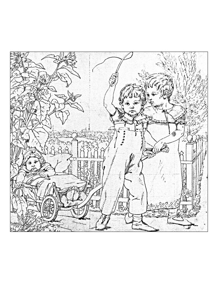 Free Coloring Page Adult Vntage Drawing With Children Vintage Representing Two And A Baby