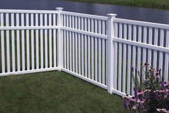 White Modern Straight Picket Fencing Garden Fences