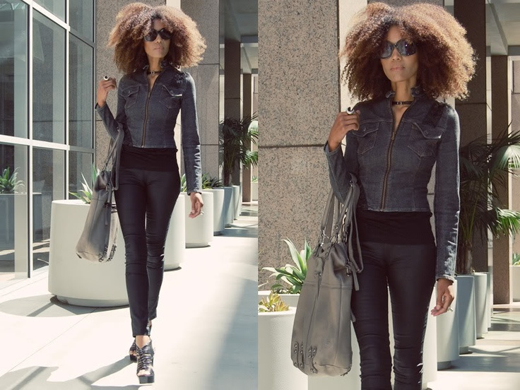 Ndoema wears a Dolce and Gabbana cropped denim jacket, G-Star Raw skinny jeans jeggins, Chloé sunglasses and Linea Pelle leather tote bag.
