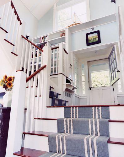 great idea for a beach house  - striped stair runner + dutch door.