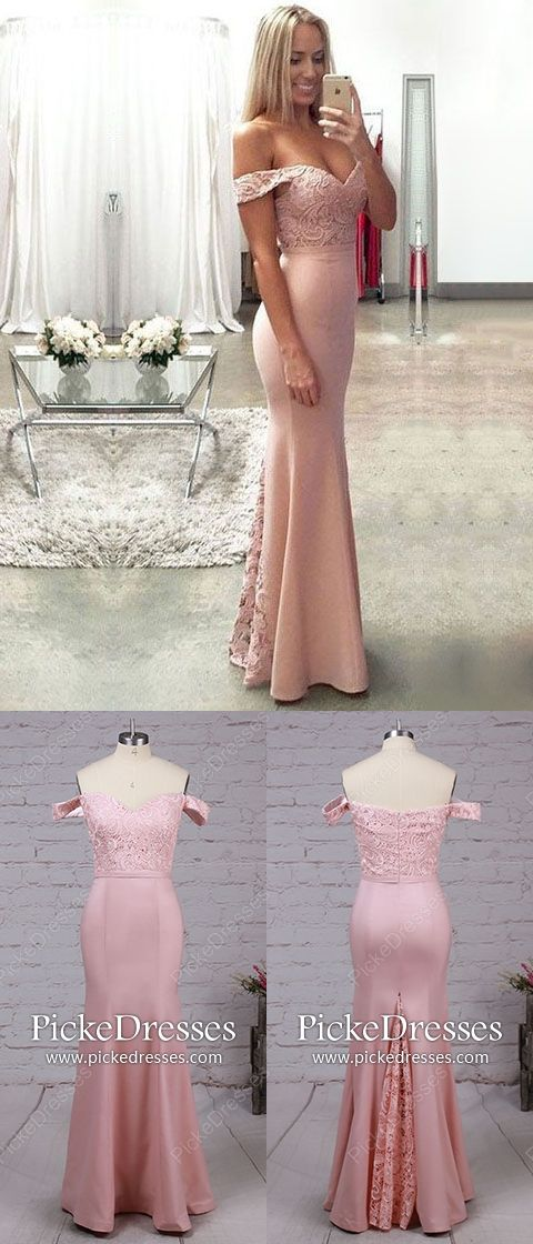 Long Prom Dresses Mermaid Pink Evening Dresses For Teens Lace
